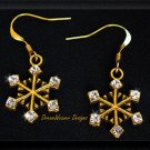 Full of Sparkle Vintage Swarovski Crystal and Gold Snowflake Earrings