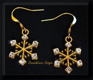 Full of Sparkle Vintage Swarovski Crystal and Gold Snowflake Earrings
