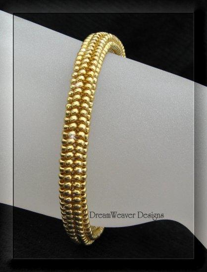 Stunning Gold Artisan Beaded Herringbone Bracelet Custom Sizing