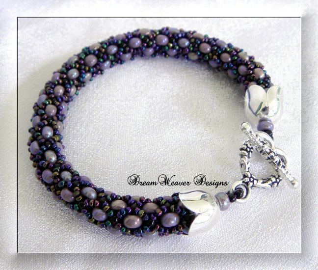 Purple AB Aurora Borealis Tubular Beaded Bangle Bracelet