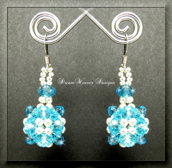 Turquoise Celestial Crystal and Silver Bead Dangle Earrings