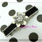 Vintage Swarovski Crystal Silver Flower and Jet Black Barrette
