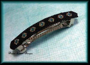 Stunning Beaded Jet Black, Gold and Teal Large Barrette 3 1/4 Inches Long