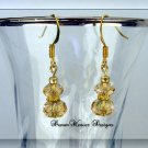 Topaz Swarovski Crystal and Gold Dangle Earrings