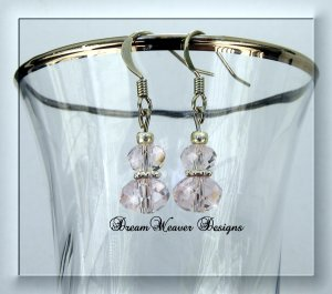Pink Swarovski Crystal and Silver Dangle Earrings