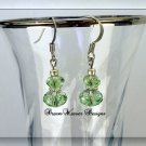 Peridot Green Swarovski Crystal and Silver Dangle Earrings