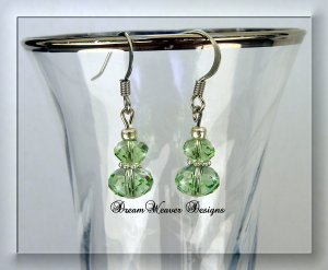 Peridot Green Swarovski Crystal and Silver Dangle Earrings