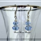 Blue Sapphire Swarovski Crystal and Silver Dangle Earrings