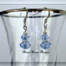 Blue Sapphire Swarovski Crystal and Silver Dangle Earrings