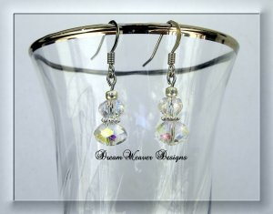 Aurora Borealis AB Clear Swarovski Crystal and Silver Dangle Earrings