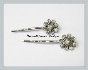 Vintage Swarovski Crystal Flower Hair Pins Bobby Pins Hair Jewelry