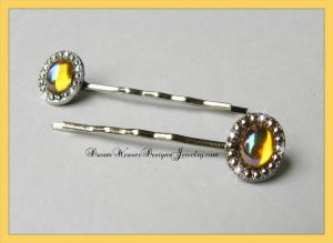 Aurora Borealis Topaz Crystal with Marcasite Hair Pins Bobby Pins Hair Jewelry