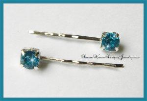 Aqua Blue Crystal Hair Pins Bobby Pins Hair Jewelry