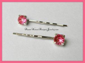 Hot Pink Crystal Hair Pins Bobby Pins Hair Jewelry