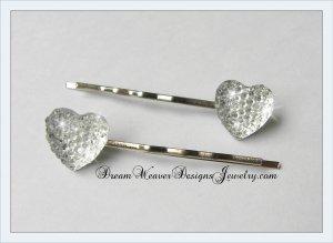 Clear White Sparkle Heart Hair Pins Bobby Pins Hair Jewelry