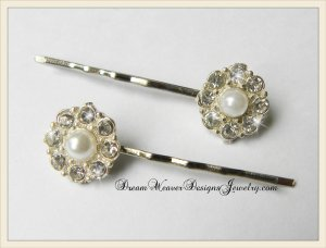Silver, Crystal and Pearl Hair Pins Bobby Pins Hair Jewelry