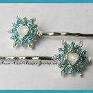 Aqua, Silver and Crystal Ice Princess Hair Pins Bobby Pins Hair Jewelry