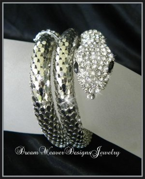 Crystal and Silver Snake Bracelet