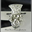 Crystal Top Hat Silver Skull Ring