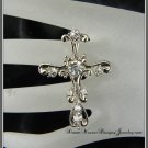 Double Finger Silver and Crystal Fancy Cross Ring