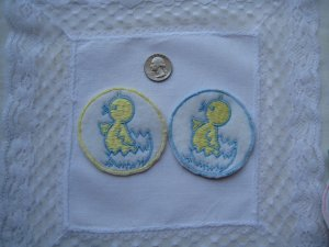 Embroidered Duck Medallions Appliques/Patches For Baby Infant or Toddler Clothing & Crafts