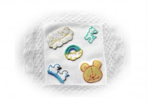 Sampler of Toddler/Baby  Embroidered Appliques. Bear,Ducks,Lamb,Rainbow