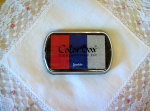 ColorBox Archival Quality Ink Pad #17015 Sparkler: Scarlet, Royal Blue, Sliver