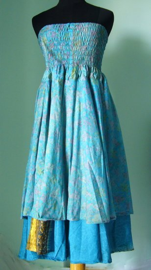 Smock Dress & Long Silk skirt Gypsy, Boho Indian style (ss012)