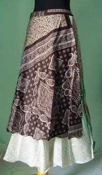 Long Wrap Silk Skirt ,Gypsy, Indian Style (sw103)