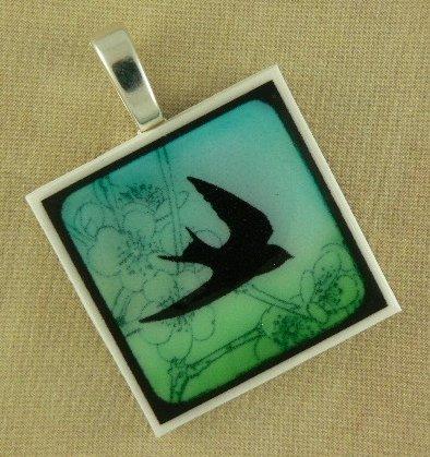 Bird in Flight Polymer Clay Pendant Necklace