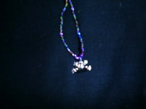 Glass Beaded Necklace with frog charm