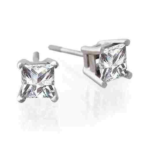 1.42ctw 14K White Gold Princess Diamond Stud
