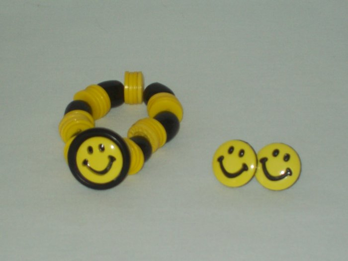 Smiley Face Bracelet And Earrings