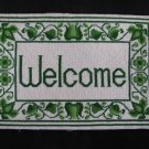 Vintage Needlepoint Welcome Wall Art Retro Green Beautiful Handcrafted