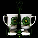Retro Glasses Footed Mugs Serving Set 4 Stand Funky Flower Power