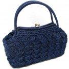 Caron Original Handbag Women's Japan Vintage Retro Purse Blue Wicker Large