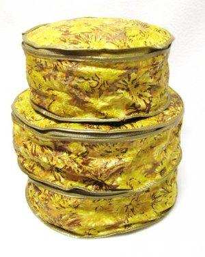 Vintage China Covers Dish Storage Set 3 Retro Gold Floral Vinyl
