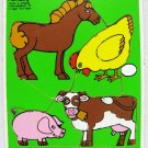 Farm Animals Wood Puzzle Playskool Vintage 1982 Toy Cow Horse Chicken Pig
