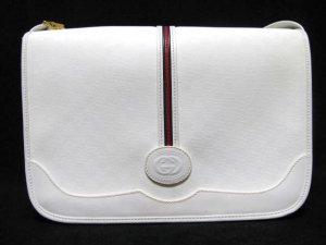 Vintage Gucci Handbag Shoulder Purse Cross Body White Leather