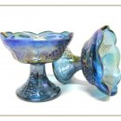 Vintage Candle Holders Blue Carnival Indiana Glass Set Grapes Fruit Footed Home Decor Collectible