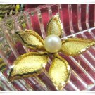 Gold Pearl Brooch Retro Flower Pin Double Petal Vintage Jewelry