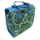 Avon Vintage Tote Shopper Bag Funky Brocade Travel Handbag Aqua Flowers Retro