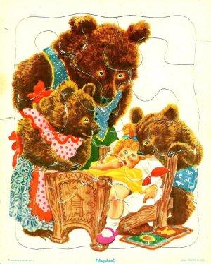 Vintage Playskool Puzzle Goldilocks Three Bears Frame Golden Press 8 x 10
