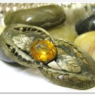 Art Deco Vintage Brooch Pin Brass Amber Citrine Beveled Glass Stone Retro Fashion Jewelry