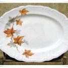 Vintage China Serving Platter Harmony House Japan Retro Tray Dinnerware Brown Leaf