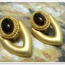 Chunky Earrings Big Bold Gold Tortoise Shell Cabochon Retro Mod Disco Vintage Jewelry