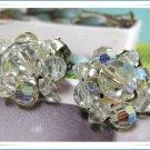 Crystal Beaded Earrings Vintage Aurora Borealis Retro Mod Jewelry Clip On