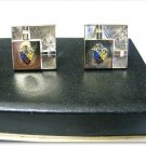 Mens Vintage Cufflinks Tie Bar Foster Coat Of Arms Gold FCB Signed Original Case