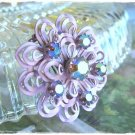 Austrian Vintage Brooch Retro Mod Flower Power Aurora Borealis Chatons Lavender Pin Lapel Hat Open