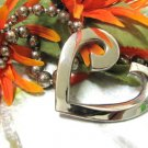 Modern Heart Necklace Silver Plated Beaded Chain 80s Vintage Jewelry Comtemporary